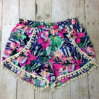 Islands of Paradise Floral Pom Pom Shorts