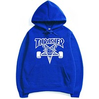 Thrasher Autumn and winter skate tide brand dead fly west coast hip-hop Harajuku Fleece Hoodie Blue