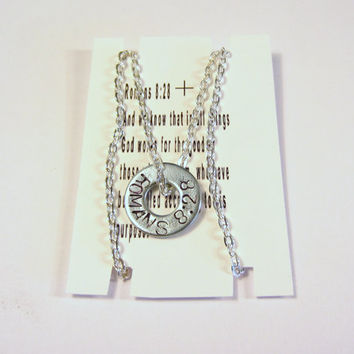Washer Necklace Hand Stamped Romans 828 by HotSpotJewelryShop