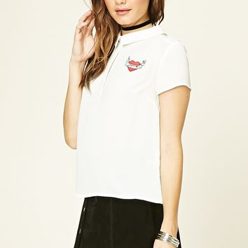 Love Patch Collared Top