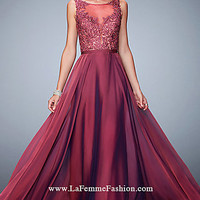 Chiffon Long Bateau Neck Open Back Prom Dress by La Femme