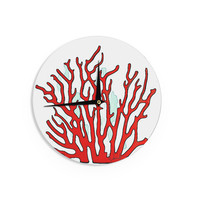 "Oriana Cordero ""Red Coral"" White Red Wall Clock"