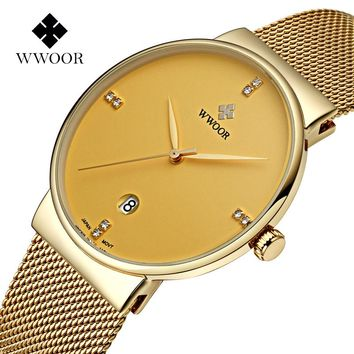 Luxury Top Brand Mesh Steel Strap Slim Case Men's Watch with Golden Plating Casual Business Wristwatch Male relogio masculino