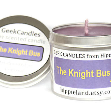 Knight Bus Scented Soy Tin Candle 8oz. Harry Potter Candle. Geekery. Geek Candles. Soy Candles. Candles. Tin Candles. Soy Tin Candles.