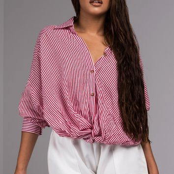 Long Sleeve Pinstripe Button Down Cropped Blouse