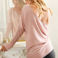 Drape-back Tunic Sweater