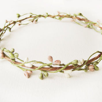 Pip Berry Circlet, Rustic Halo, Bridal Headpiece, Woodland Flower Crown, Pip Berries, Country Wedding, Pink, Green, White, Romantic, Fairy