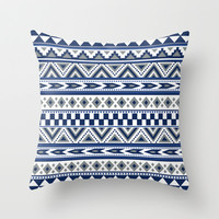 Tribal Art Pattern Navy Blue Silver White Dallas Cowboy colors Throw Pillow case cover by tjc555 | Society6