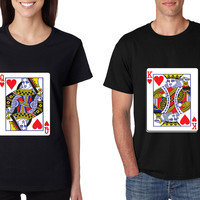 King and Queen matching couples tshirts Valentines day
