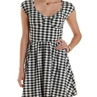Black Combo Gingham Bustier Skater Dress by Charlotte Russe