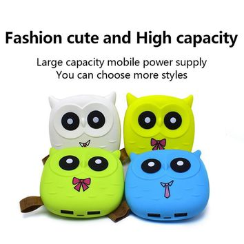 New Cute Owl Cartoon Mobile Power Bank Charger External Battery 12000mAh Dual USB for Cellphone Smartphone Drop Shipping