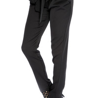 Black Front Tie Cute Pants