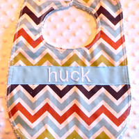 Personalized Bib - Baby Boy Blue Brown and Green Chevron Bib