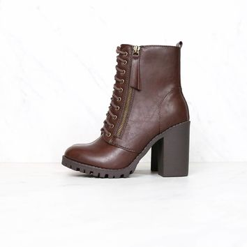 Faux Leather Lace Up Chunky Ankle Boot in Brown