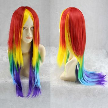 70cm Long Synthetic Cosplay Rainbow Wig Dash Multi Color Heat Resistant Cosplay Party/daily Soft Touch Hair Wig Peruca Peluca