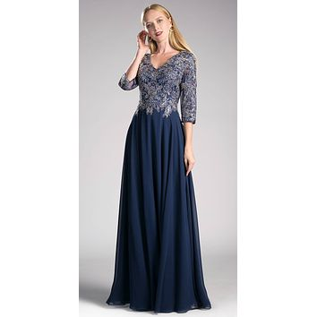 Navy Blue Long Formal Dress Mid-Sleeve Appliqued