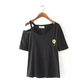 Black One-shoulder Cutout Embroidered Short Sleeve T-Shirt - Black/White