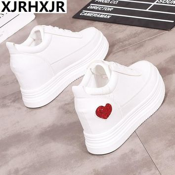 2018 Spring Autumn Sneakers Women Casual Shoes Lace Up White Leather 6cm Heels Shoes Woman Oxfords Platform Creepers Boat Shoes
