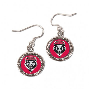 New Mexico Lobos Earrings Round Style