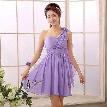 2017 New Chiffon Bridesmaid Dresses One Shoulder Sleeveless Junior Short Design Wedding Bridal Party Dress Cheap Free Shipping