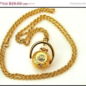 Gold over pewter Nantucket Basket Scrimshaw  boat  locket pendant with lucky penny necklace