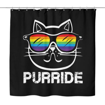"LGBT Gay Pride Shower Curtain by Living Gay | Rainbow Cat Purride, 70"" x 70"", 100% Woven Polyester"