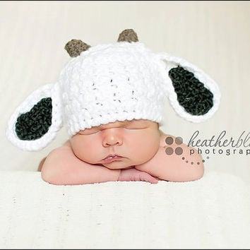 Baby Goat hat, Billie Goat, Crochet baby hat, photo props, baby shower gift, farm baby hat, crochet baby hat, newborn baby goat,