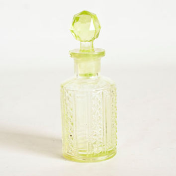 Antique Vaseline Glass Perfume Bottle, Uranium Glass Container Cruet with Stopper, Glows Under Blacklight