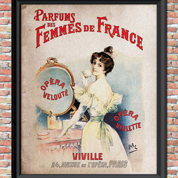 French Perfume Art Print Digital Cologne Lady Mirror Parfumes Shabby Rustic Cottage Chic Wall Decor Provincial Primitive Vintage Style