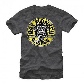 Gas Monkey Garage Equipped Logo Circle Licensed Adult T-Shirt - Grey