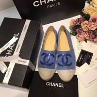 women denim flat shoes espadrilles flat casual shoes-1