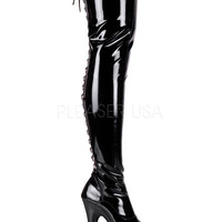 Black Stretch Thigh High Stripper Boots