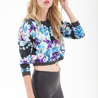 FOREVER 21 Boxy Floral Knit Sweatshirt Black/Multi