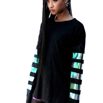 Holographic stripe long sleeve top baggy futuristic space age alien wear ZEF shiny armor top