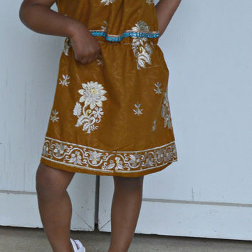 Simple Elegance Mushroom Brown and Ivory Flower Cotton Sari Fabric Dress, Sparkle Blue Embellishment - Upcycle / Recycle  Size 2T 3T 4T
