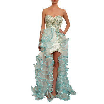 MAC DUGGAL Fantastically Frilly Ruffle Overlay Strapless Gown Dress
