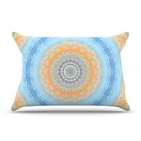 "Iris Lehnhardt ""Summer Mandala"" Circle Orange Blue Pillow Sham"