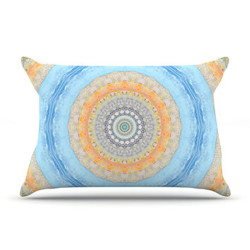 "Iris Lehnhardt ""Summer Mandala"" Circle Orange Blue Pillow Case"