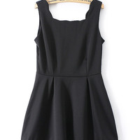 Square Neck High Waist Sleeveless Pleated A-line Mini Dress