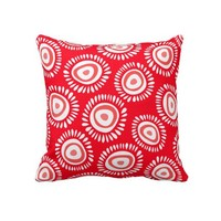 Lovely red funky flowers Pillow from Zazzle.com
