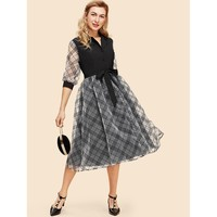 Black And White Plaid Mesh Insert Button Up Flare Dress