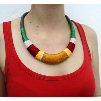 Green, red and yellow necklace - statement necklace - multicolor crochet