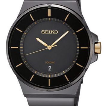 Seiko Mens Two-Tone Watch - Black Dial - Black IP and Gold-Tone Design - 100M WR