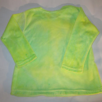 Girls colorful 4T Velour knit dress, hand dyed cotton, yellow, green custom design, soft, easy care, great with leggings or shorts.