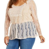 Plus Size Ivory Lace & Crochet Tunic Top by Charlotte Russe