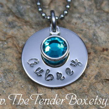 Free Shipping personalized birthstone necklace handstamped pendant necklace
