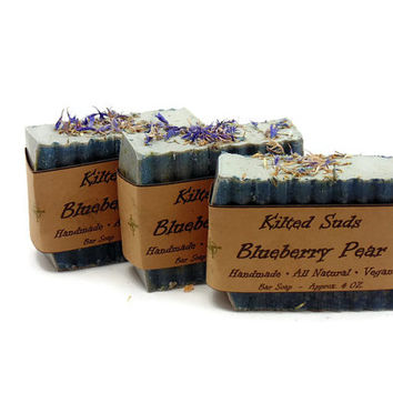 Blueberry Pear Soap, blueberry soap, pear soap, fruit soap, blue soap, bar soap, Vegan soap