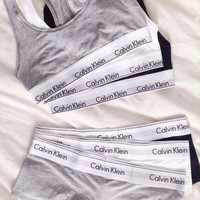 DCCKBA7 2 Pc Set Calvin Klein Tank Top Shorts Underwear Lingerie Set Bikini Swimwear Bra