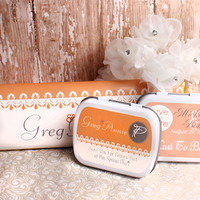 Simply Peach Personalized Wedding Mint Tins, Wedding Favors, Candy Favors