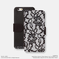 Black lace Pattern iPhone Samsung Galaxy leather wallet case cover 030